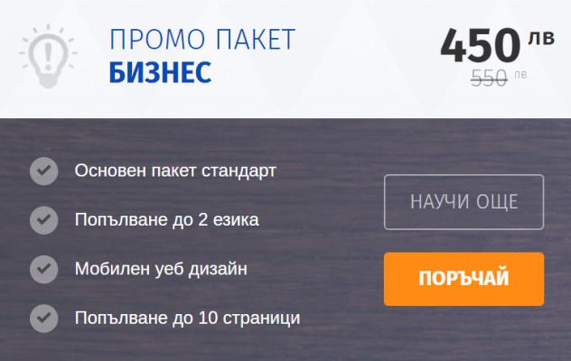 промо бизнес пакет за изработка на сайт