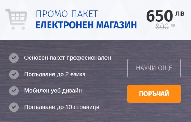 промо пакет за изработка на електронен магазин