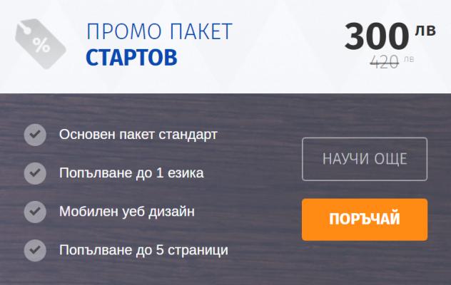 промо стартов пакет за изработка на сайт