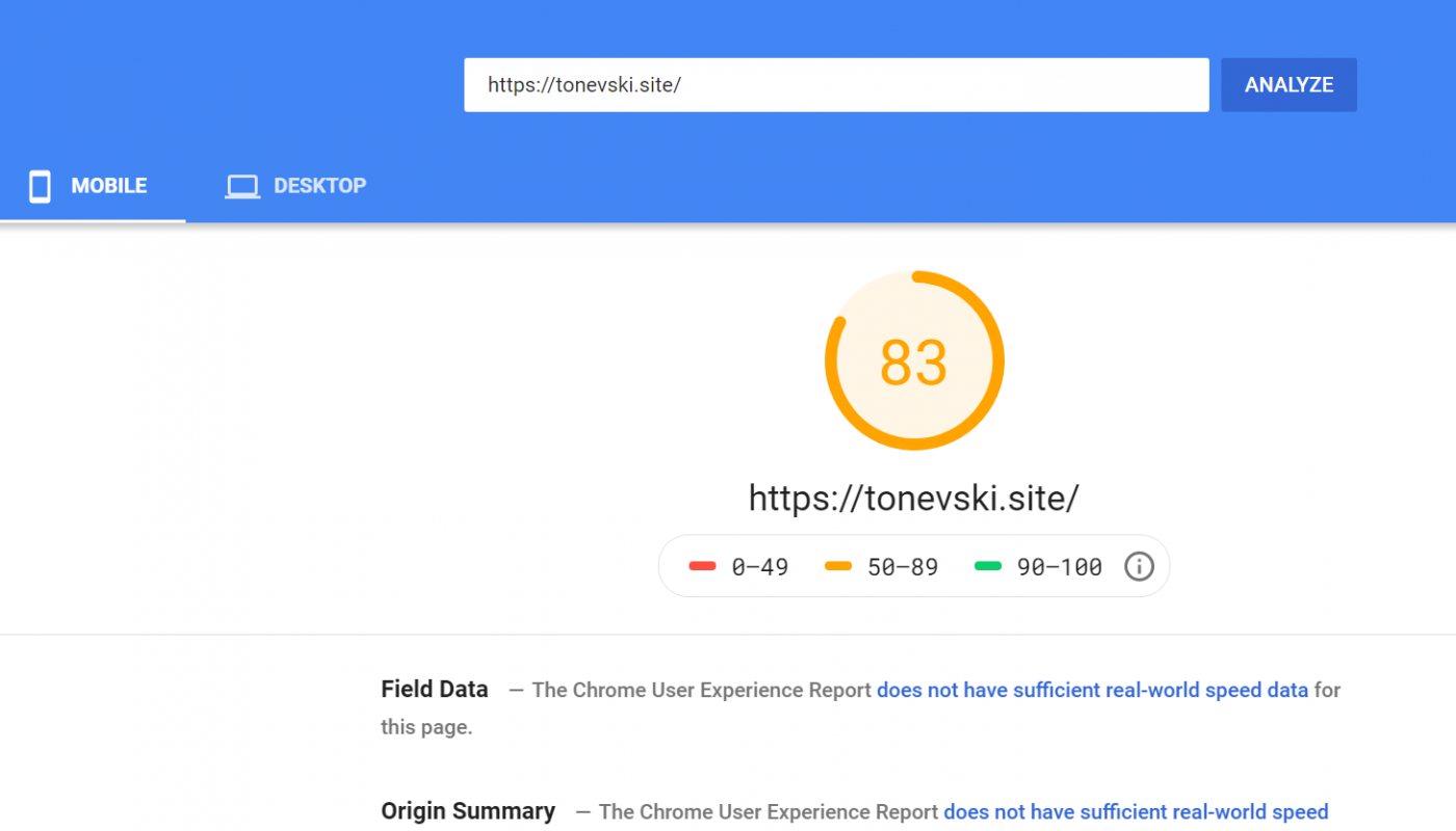 pagespeed insights tonevski mobile